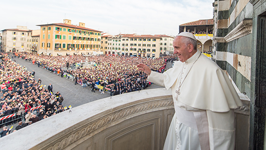 Papa Francesco sul pulpito di Donatello